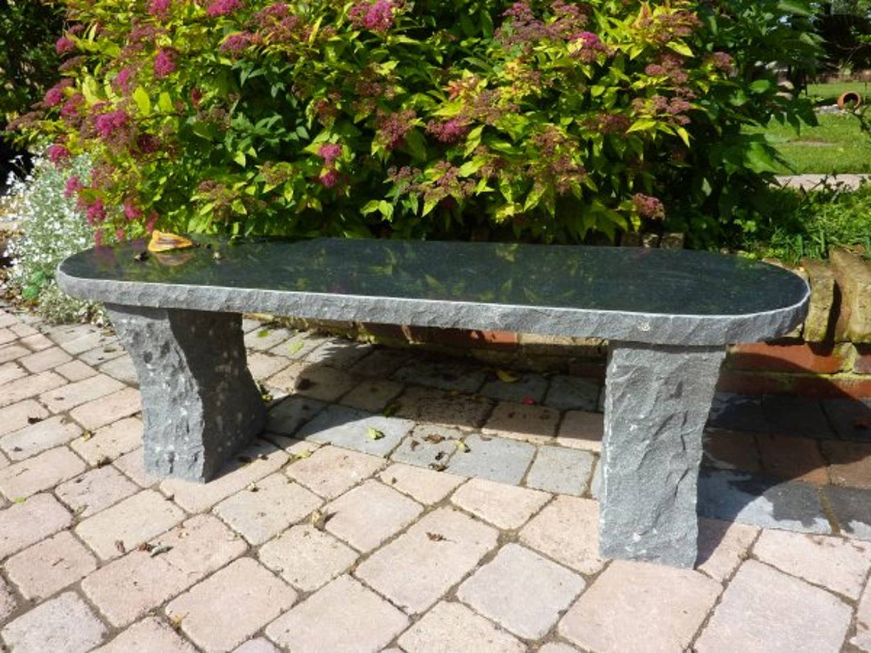 Picture of: Rustic Black Granite Garden Bench Garden Ornamnents