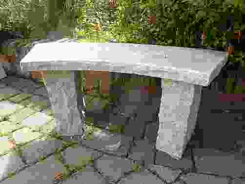 Curved Beige Granite Garden Bench