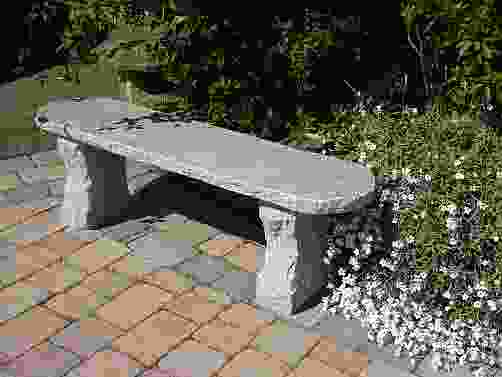 Rustic Grey Granite Garden Bench
