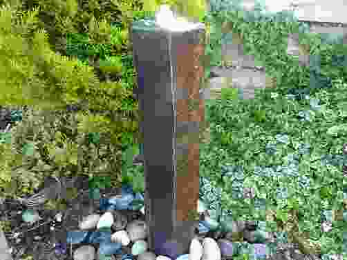 Large Basalt Column Water Feature with Plinth