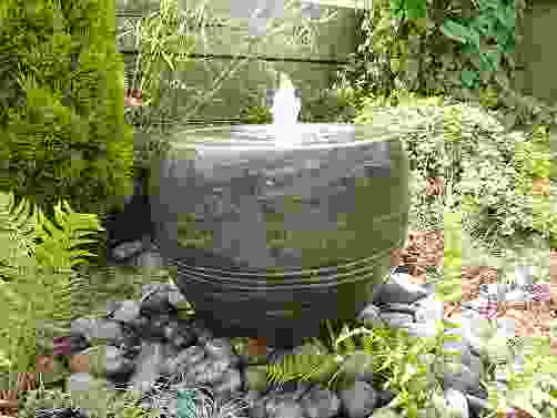 Black Limestone Planter Water Feature