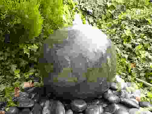 Black Polished Limestone Sphere Water Feature