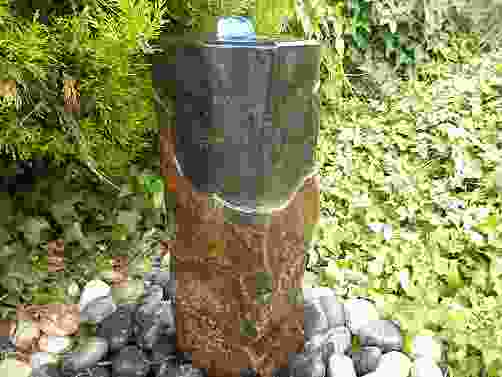 Small Polished Basalt Column Water Feature with Plinth