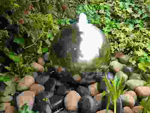 Large Stainless Steel Babbling Sphere Water Feature