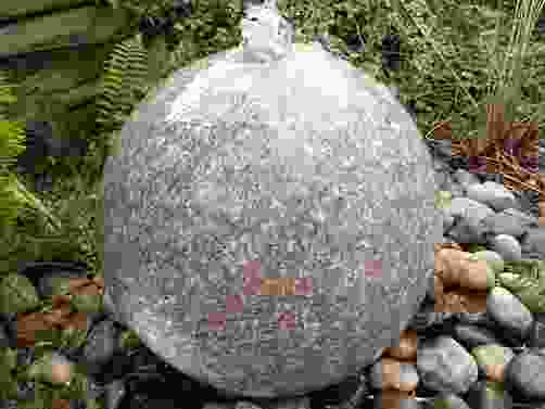Pink Polished Granite Sphere Water Feature