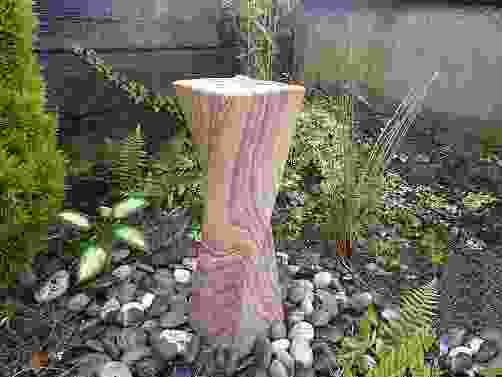 Smooth Twisting Column Rainbow Stone Water Feature