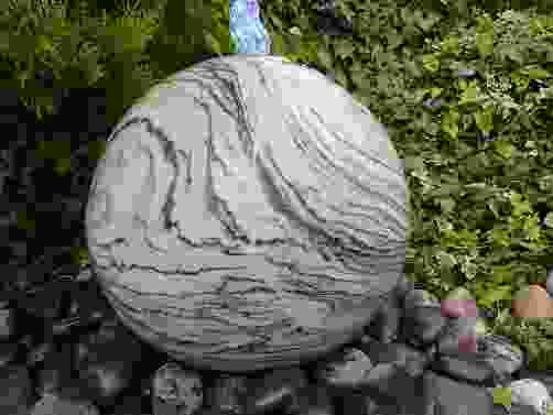 Wave Polished Granite Sphere Water Feature
