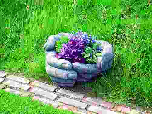 Cupped Hands Stone Garden Planter