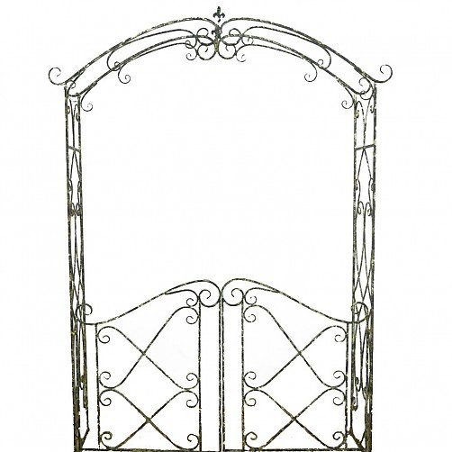 Fluted Metal Garden Arch with Gates