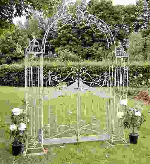 Antiqued Green Vintage Metal Garden Arch with Gates