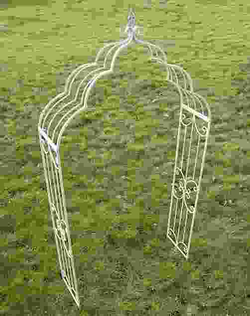 Cream Vintage Antiqued-Metal Garden Arch