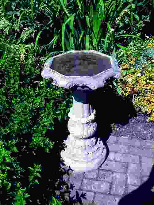 Classical Stone Birdbath with Ornate Bowl