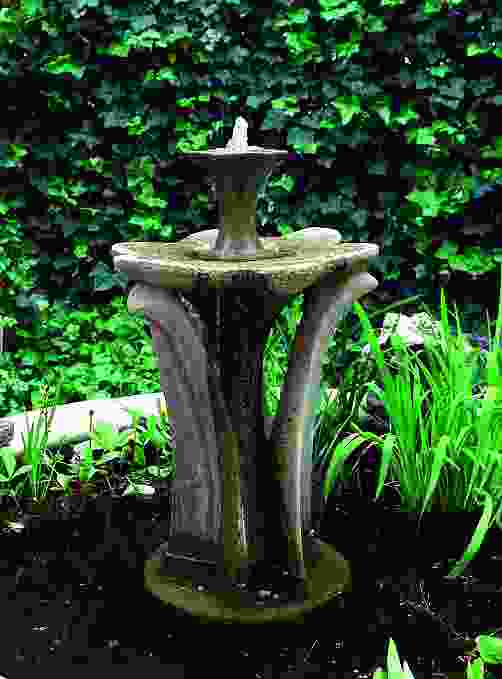 Tiered Flower Stone Fountain