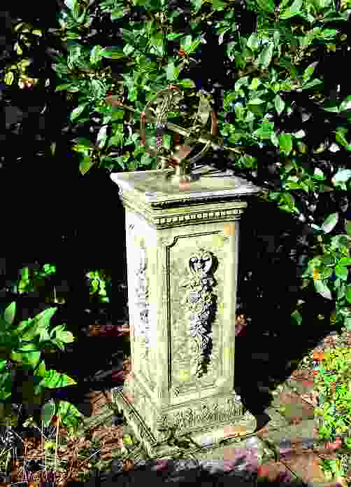 Medium Armillary on Floral Stone Garden Pedestal