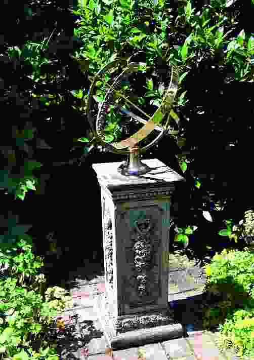 Large Armillary on Floral Stone Garden Pedestal